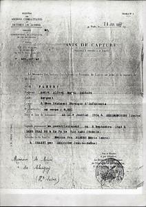 Avis de capture 28 janvier 1952